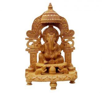 Pure Wooden Material Ganesh Merav Carving Umbrella Statue Idol Home Decor