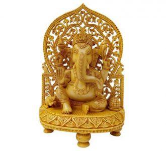 Aesthetical Wooden Ganesh Statue Idol Home Decor