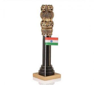 Wooden Ashoka Pillar With Flag Home Decor