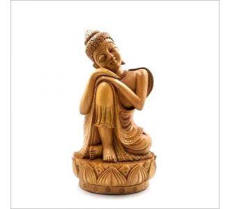 Wooden Buddha Sleeping Home Decor