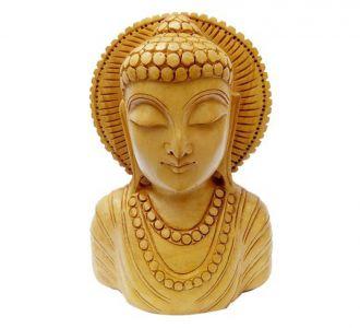 Wooden Gautam Buddha Head Carving Home Decor