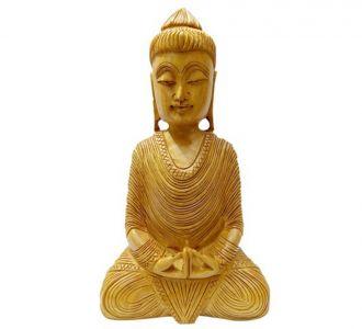 Wooden Buddha Hand Carved Sitting Buddha Statue Home Decor