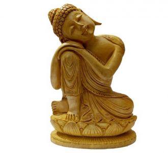 Wooden Statue Lord Buddha Sleeping Idol Home Decor Showpiece Home Decor