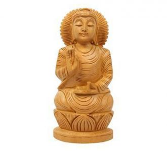 Wooden Gautam Buddha Statue Idol Home Decor