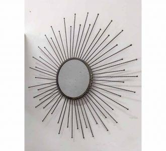 Dark Grey Coloured Metal Made Wondrous And Peculiar Wall Mirror
