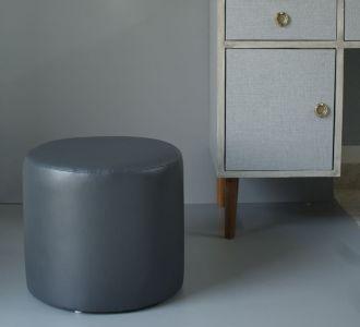 Round Leatherette Pouf Stool Set Black Seating Furniture Home Decor