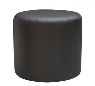 Round Leatherette Pouf Stool Black Seating Furniture Home Decor