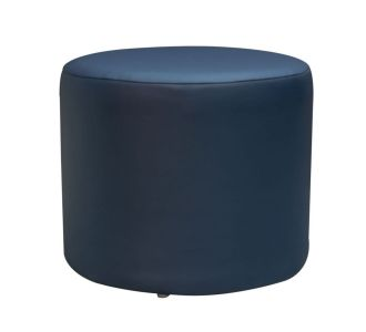 Round Leatherette Pouf Stool Set Navy Blue Seating Furniture Home Decor