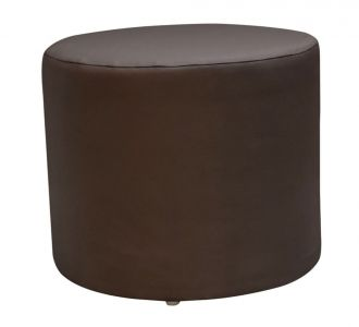 Round Leatherette Pouf Stool Brown Seating Furniture Home Decor