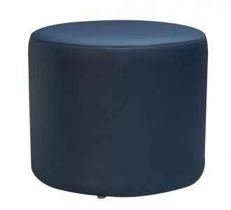 Round Leatherette Pouf Stool Navy Blue Seating Furniture Home Decor