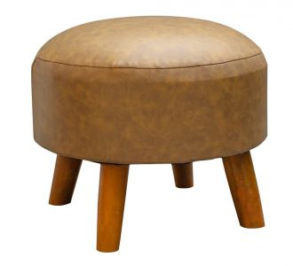 Light Brown Leatherette Ottoman Seating Furniture Home Decor