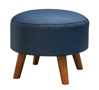 Blue Leatherette Ottoman Seating Furniture Home Decor