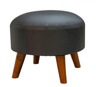 Classic Black Leatherette Ottoman Seating Furniture Home Decor