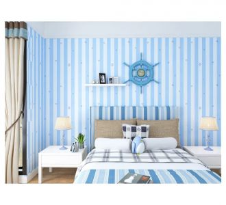 Stunning Mixure Of Blue And White Stripes Self Adhesive Classics Wallpaper Home Decor