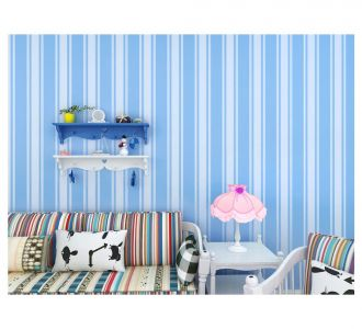 Beatiful Stripes Of Blue And White Self Adhesive Classics Wallpaper Home Decor