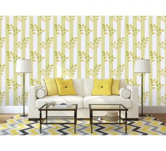 Beatiful Floral Collection On Green And White Stripes Self Adhesive Classics Wallpaper