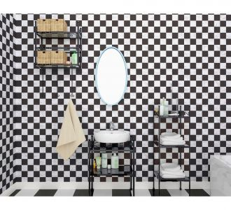Mosaic Small Squres Of Black And White Self Adhesive Classics Wallpaper Home Decor
