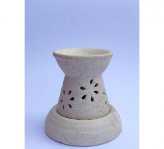 White Ceramic Aroma Diffuser Perforated Semi Conical Home Decor Item Online Indian Product