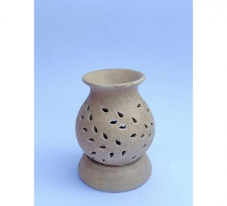 Sand Coloured Ceramic Pot Shape Aroma Diffuser Promising Look Home Decor Product India Online Sale