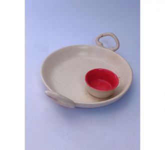 Plain White Samosa Tray With Bowl For Serving Food Home Decor