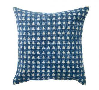 Indigo Coloured Cheerful Cotton Cushion Cover Decorified With Jaipur Blocks Comes Along A Zip