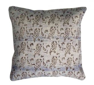 Intricately Designed Ivory Made Cushion Covers With Jaipur Block And Zip On Back