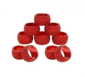 Beaded Napkin Rings Set Of 10 Red