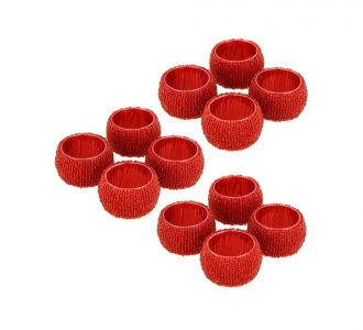 Beaded Napkin Rings Set Of 12 Red