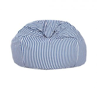 Fashionable White And Blue Stripped Organic Cotton Bean Bag Cover