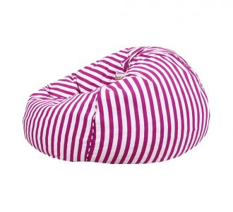 Fashionable White And Pink Stripped Organic Cotton Bean Bag Cover