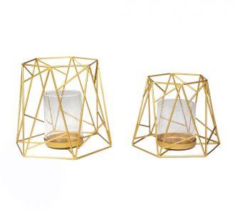 In Shape Of Geometrical Hexa Metal Composed Golden Candleholder In Set Of 2 Reflecting Awsomeness