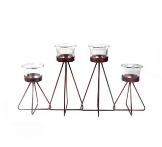 Triangle Shaped Trendy 4 Candle Holder For T-Light Made Of Metal In Golden For Decoring Your Home