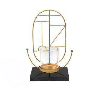 Metal And Marble Made Round Geometrical Shaped Golden Beeming Candle Holder For Adorning Your Home