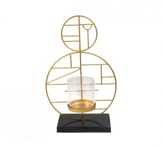 Oval Geometrical Shaped Golden Metal And Marble Charismatic Candle Holder For Decoring Your Home