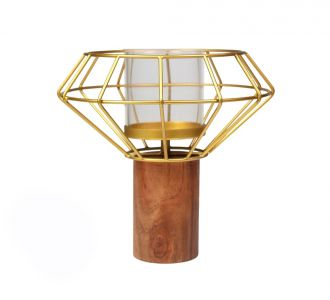 Wooden Wire Prisma Candle Holder In Golden Colours Made Of Metal And Wood For Adorning Your Home