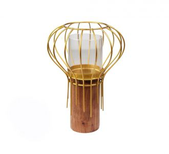 Winsome Wire Round Candle Holder Composed Of Wood And Metal In Shades Of Golden For Decorating Home
