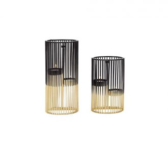 In Constellation Of 2 Dual Tone Candle Holder Of Metal In Shades Of Golden And Black For Your Home