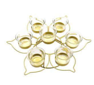 Lotus Shape Votive Metal Made Remarkable Tea-Light Holder In Golden Colour Ideal For Your Home