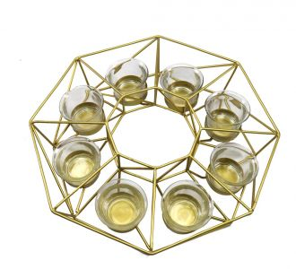 Hexagon Votive Shaped Metal Made Tealight Holder In Colours Of Golden Ideal For Adorning Your Home