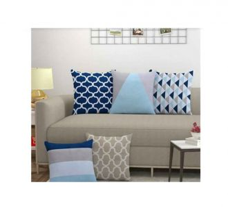 Matte Finish Printed Cushion Cover Set Of 5 Home Accessories For Festive And Everyday Use