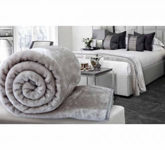 Vivid Silver Coloured Double Bed Plain Embossed Blankets Of Mink Material Of Size 90 X 90 Sale Online