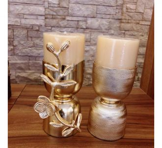 Rich Golden Colour Candle Stand With Aroma Candles Of A Set Of 2 Made Of Metal As Home Decor Product