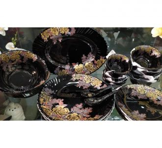 Premium Black Colour Dinner Set Of 33 Pieces Made Of Ceramic For Sale On Home Decor Products Online