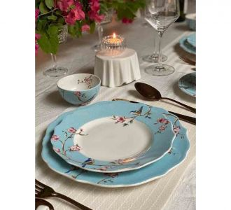 Beautiful Floral Design Blue Colour Dinner Set Made Of Porcelain On Sale Buy Decor Products In India