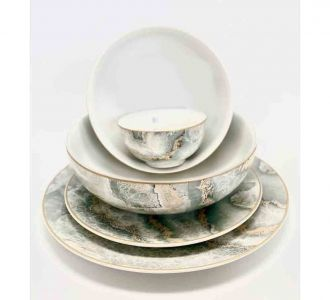 21 Pieces Dinner Set Made Up Of Porcelain In Grey Colour With Amazing Designs For Shopping Online