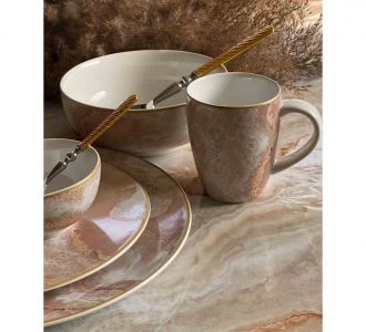 Brown Colour Porcelain Dinner Set Of 21 Pieces Of Size 10 X 9 X 4 X 6 X 8 Home Decor Products Offer