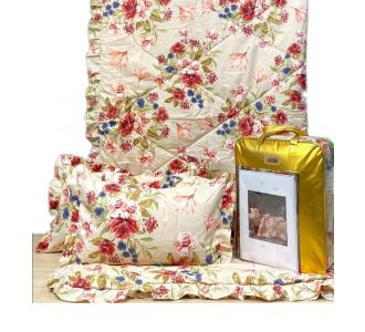 4 Pcs Bedding Set Comforter Set Floral Print Peach Blue And Red