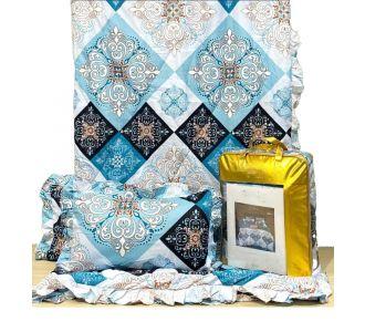 Navy Blue And Grey Patterned 4 Pcs Comforter Set Bedsheet Set