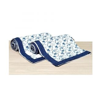 Pure Cotton Single Bed Topsheet Blue And Off White