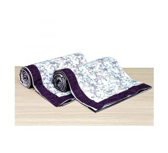 Pure Cotton Single Bedsheet Topsheet Violet And Off White